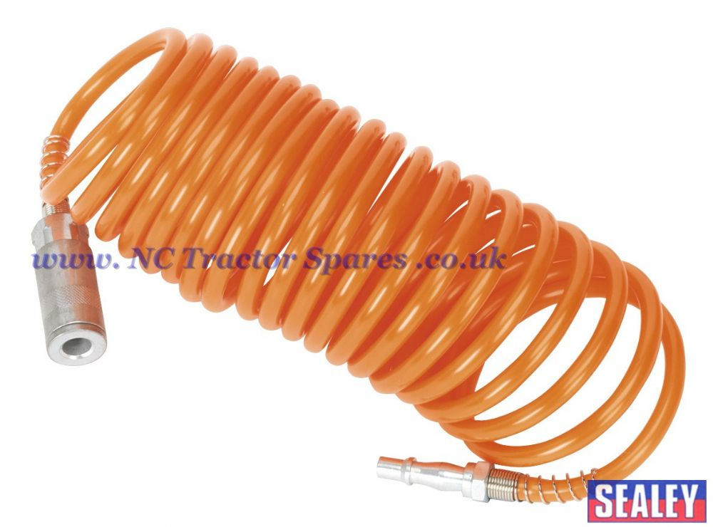 PU Coiled Air Hose 5mtr x 5mm with Couplings.